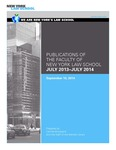 Publications of the Faculty of New York Law School 2013-2014 by New York Law School