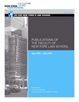 Publications of the Faculty of New York Law School 2015-2016 by New York Law School