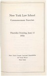 1954 Commencement Program by New York Law School