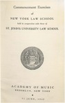 1942 Commencement Program by New York Law School