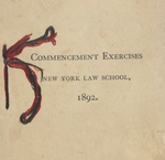 1892 Program from New York Law School's First Commencement Exercises, Carnegie Music Hall, June 7, 1892 by New York Law School