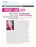 PATENT LAW LUNCH: The Honorable Faith S. Hochberg