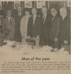 Judge Roger J. Miner, '56, 1984 Columbia County Association's Man of the Year, with R. Burdell Bixby, Jacqueline Miner, Abram Miner (also a New York Law School graduate, class of 1926), Albert Callan, Lawrene Pearce, and John Sharpe. by Roger J. Miner '56