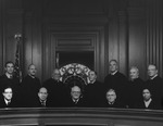 Undated photo (ca. 1988) of the active judges of the United States Court of Appeals for the Second Circuit. Judge Miner is standing second from left. Chief Judge James L. Oakes is seated at center. by New York Law School