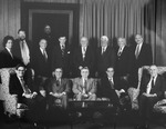 Undated photo (ca. 1992) of the active judges of the United States Court of Appeals for the Second Circuit. Judge Miner is standing at the far right. Chief Judge Thomas J. Meskill is seated at center. by New York Law School